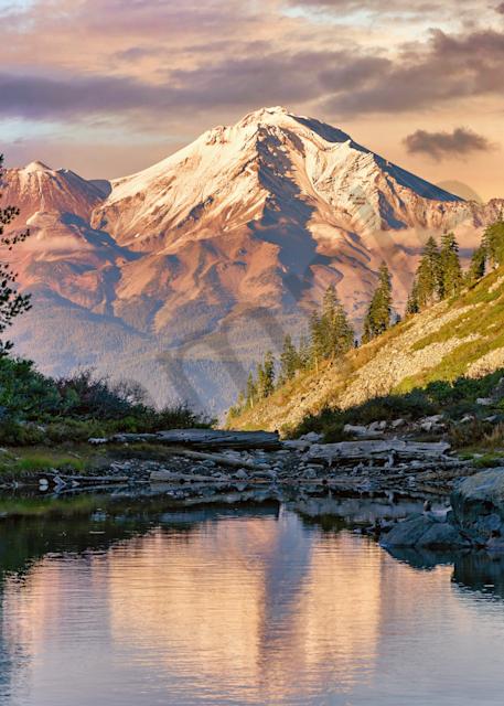 Print Art Heart Lake Mount Shasta California Grand View
