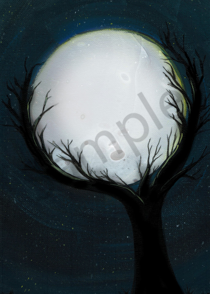 Holding the Moon Fluid Art Pour Painting Print