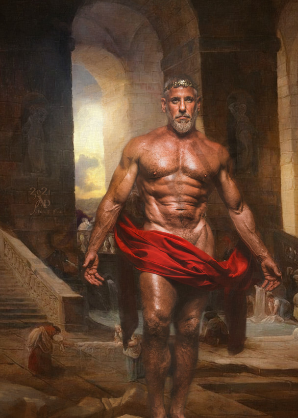 Zeus and the Baths of Mount Olympus, Open Edition, Artist Ben Fink, art prints, Painting, Photography, Photo illustration,