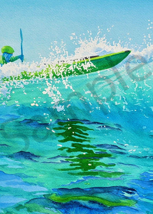 Kayak Surfing watercolor print available in paper, metal, acrylic, canvas or wood by Beth Owen
