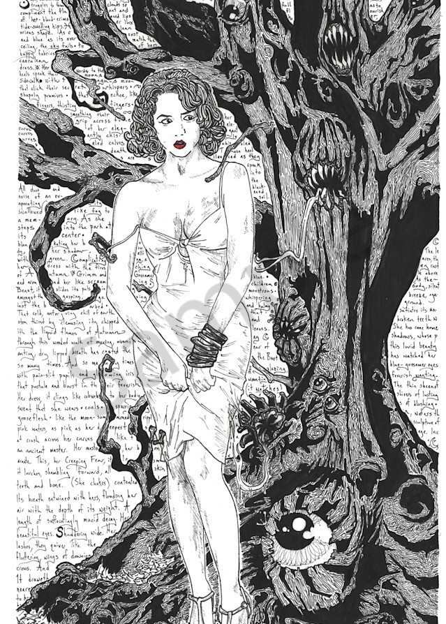 Classic Pinup Beauty stalked by a living tree.