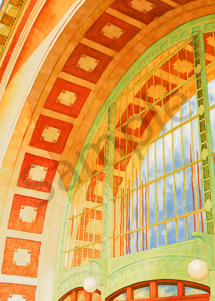 Union Station watercolor print available in paper, metal, acrylic, canvas and wood by Beth Owen.