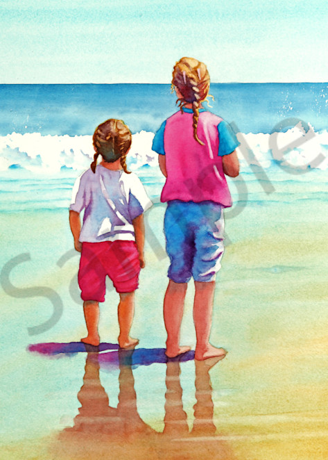 """""""Sisters"""" watercolor print available in paper, metal, acrylic, canvas or wood by Beth Owen"""