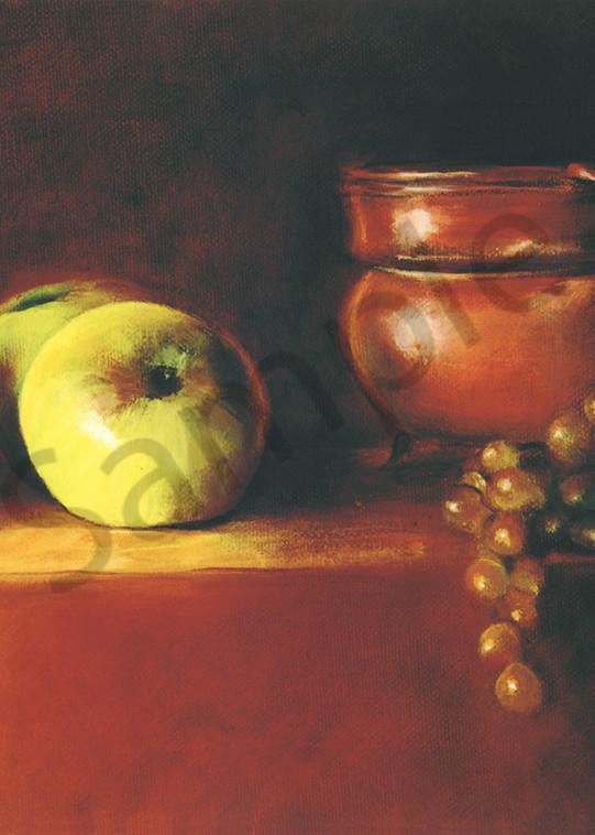 A Copper Pot Apples and Grapes