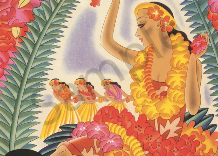 Retro Hawaiian Art | Hula and Lei by Frank MacIntosh