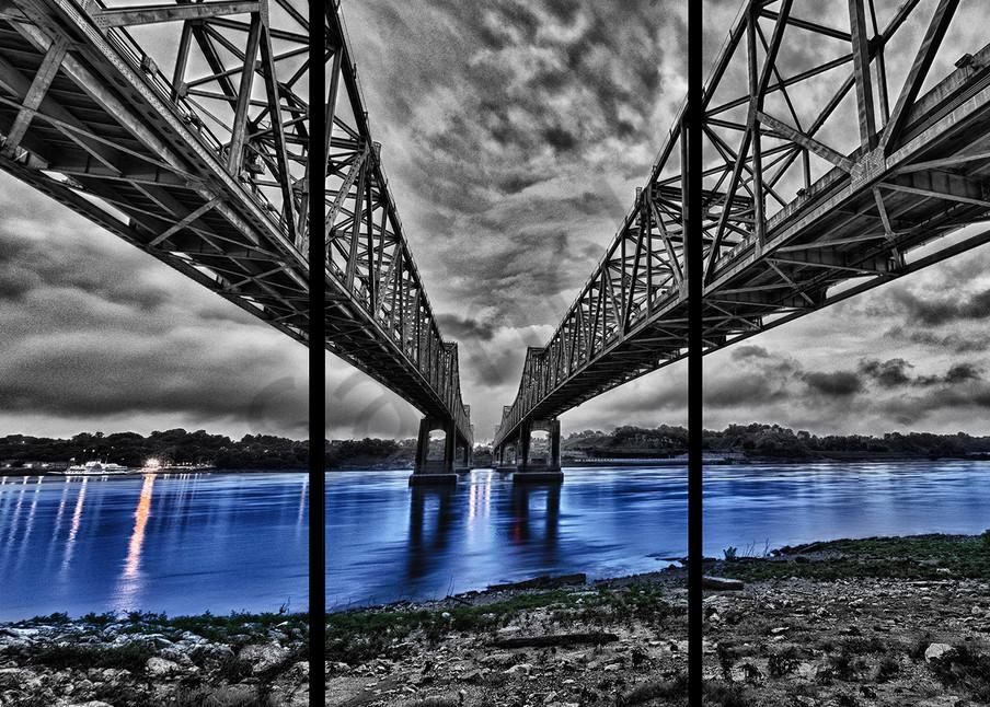 Bridge To Natchez   Trip Tych Photography Art | Robert Jones Photography