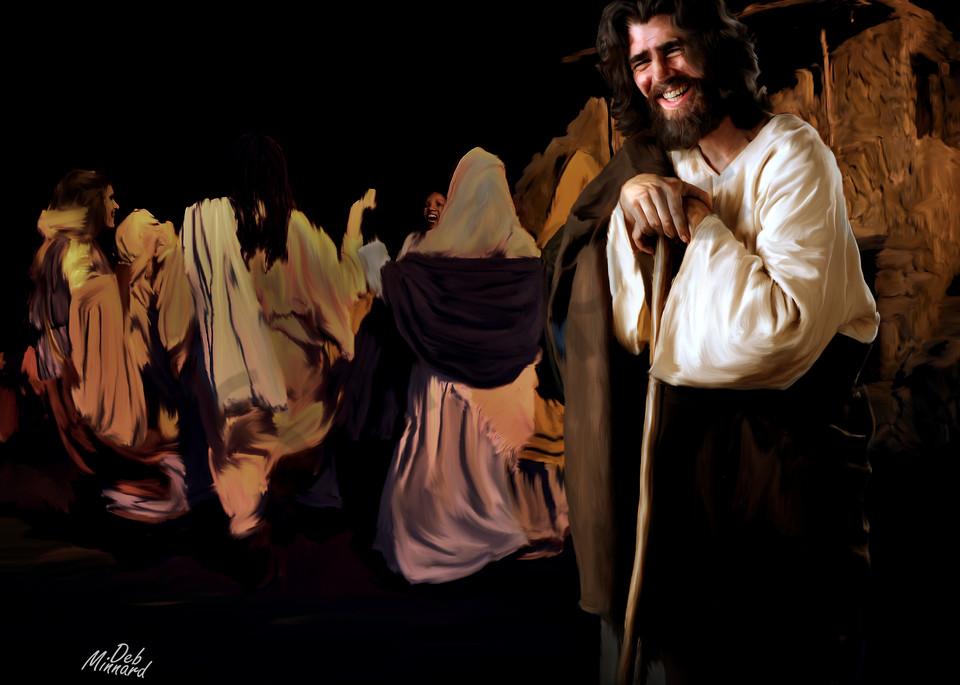 Joyous Jesus at a wedding in landscape