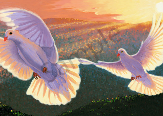 Doves and the Olive Branch Painting