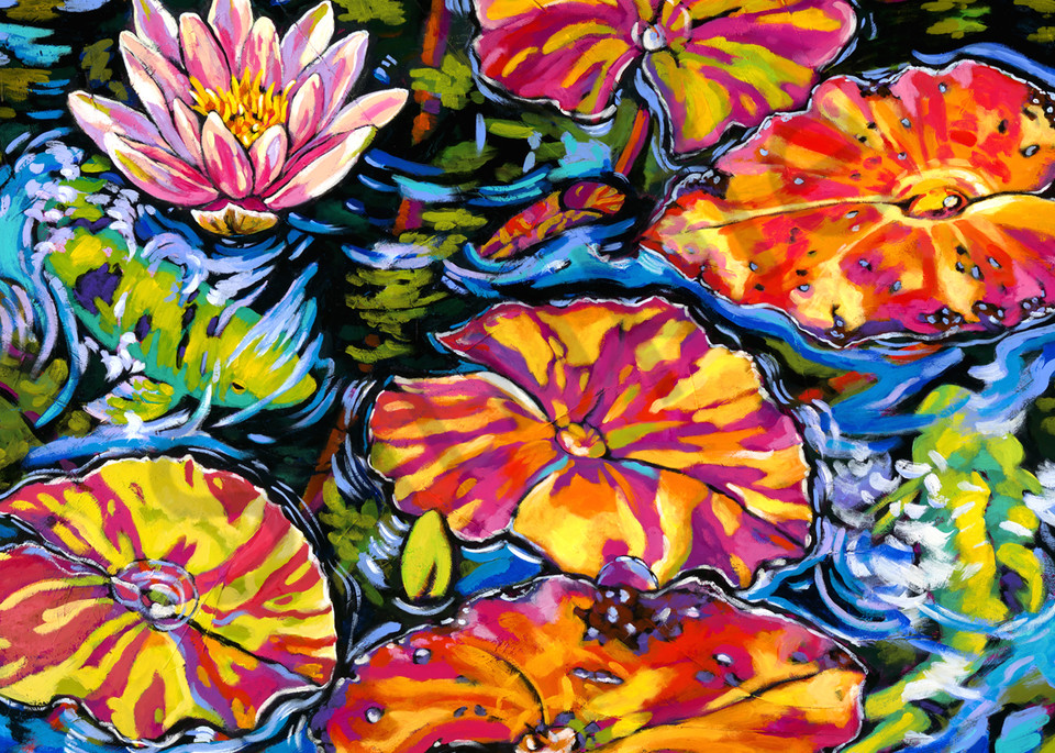 Lilies Dance With Koi Art | Sally C. Evans Fine Art