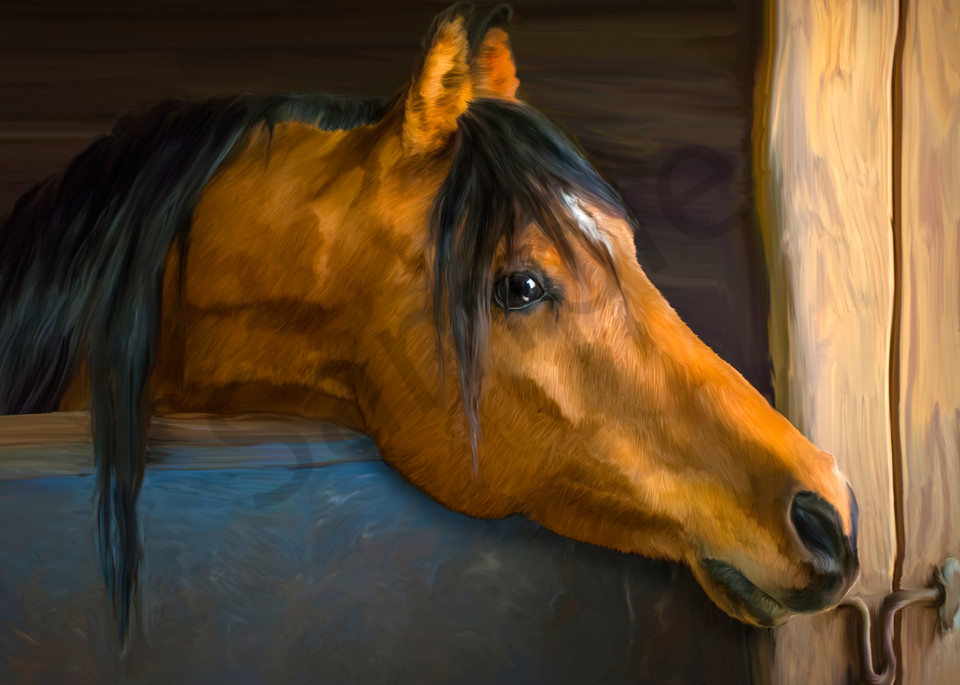 digital art painting of a Bay horse in a stall