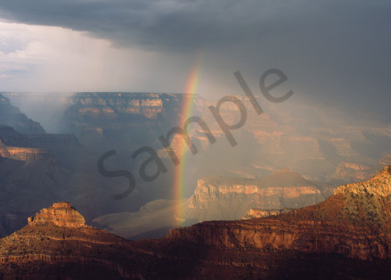 Rainbow and Summer monsoon rain storm over Grand Canyon from Mather Point, Grand Canyon National Park, Arizona