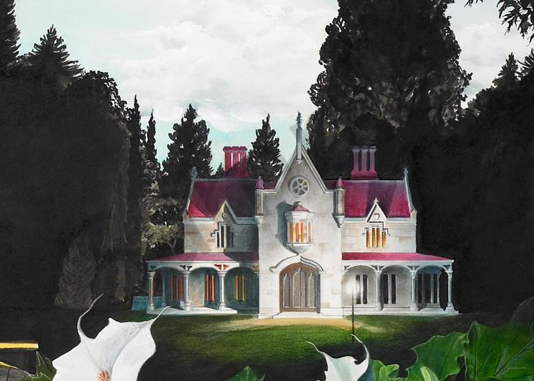 Gothic House Detail From Night Bridge Art | Melissa A Benson Illustration