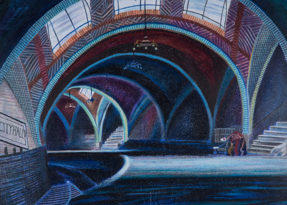 Architecture Blue City Hall Subway NYC Station Art and Painting