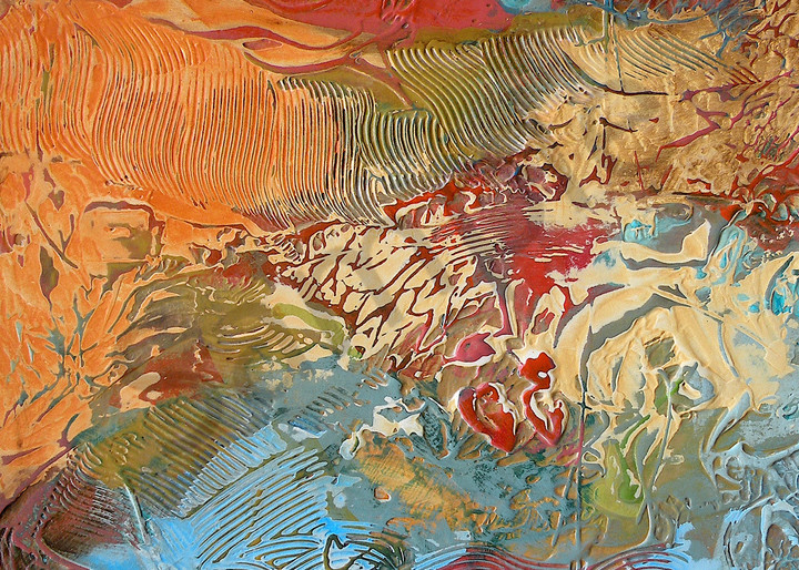 Reds and Golds in Motion | Abstract Acrylic Mixed Media | Gordon Meggison IV