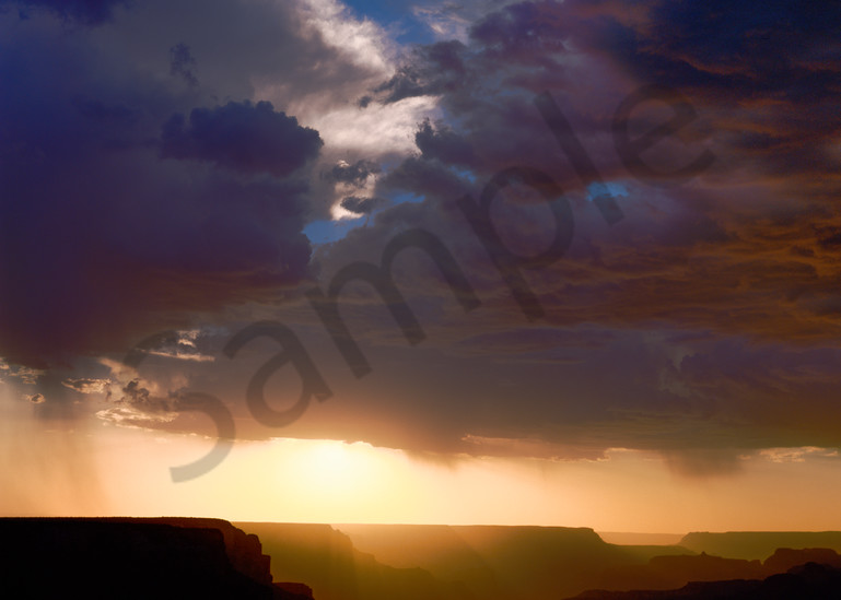 Grand Canyon with a breaking monsoon storm at sunset
