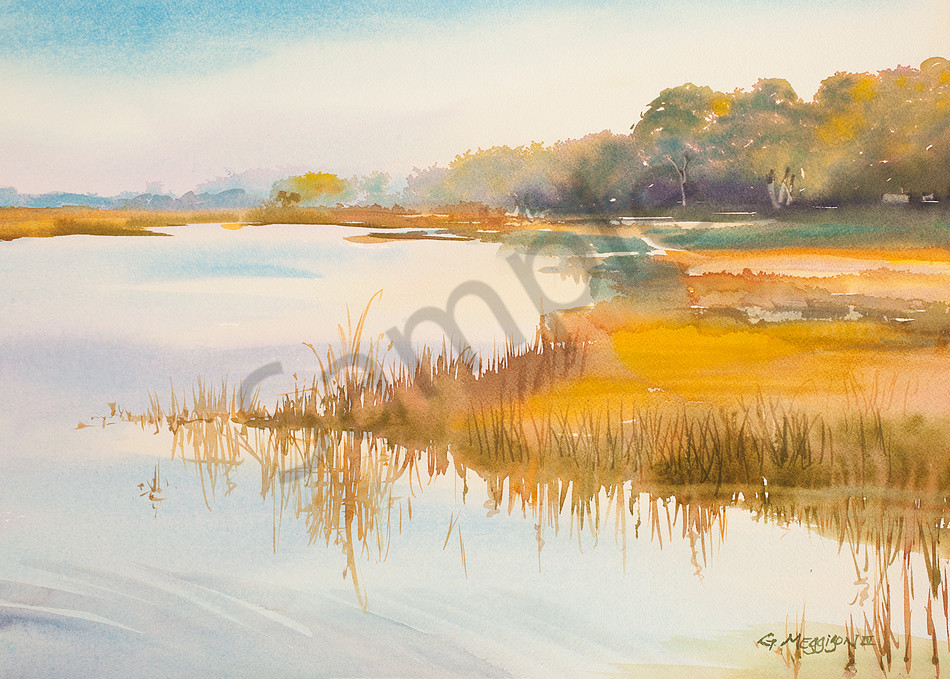 Morning Light on the Marsh 1 | Watercolor Landscapes | Gordon Meggison IV