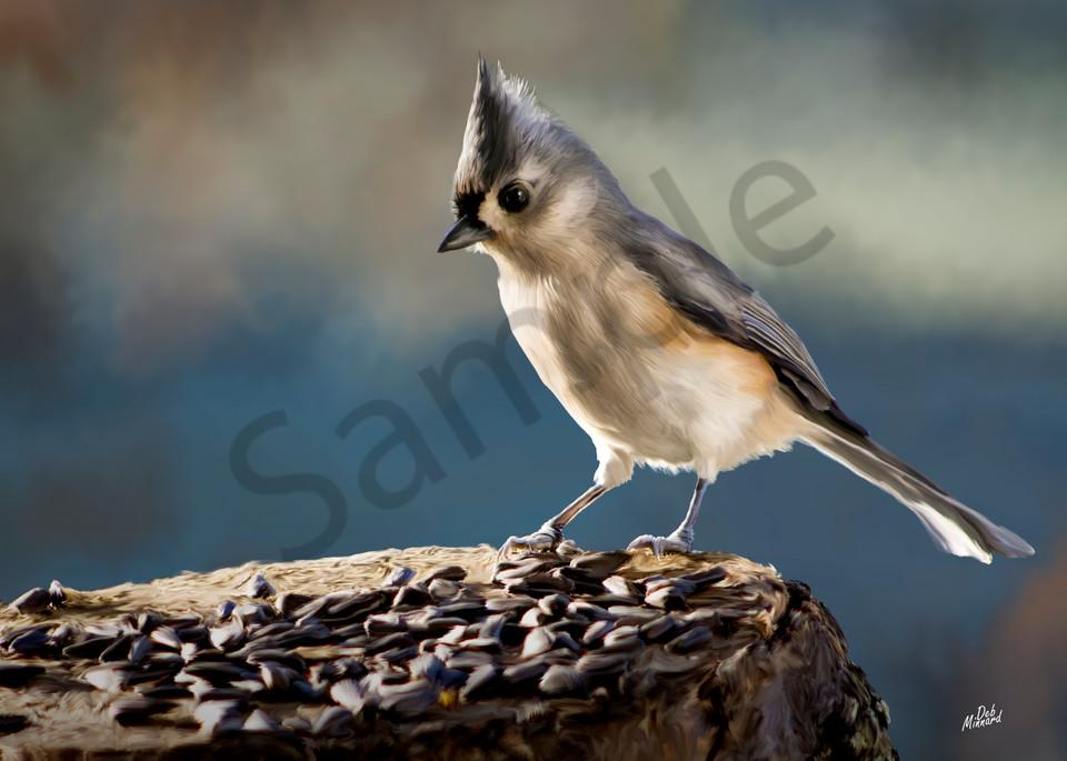 Digital art painting of a bird called a titmouse