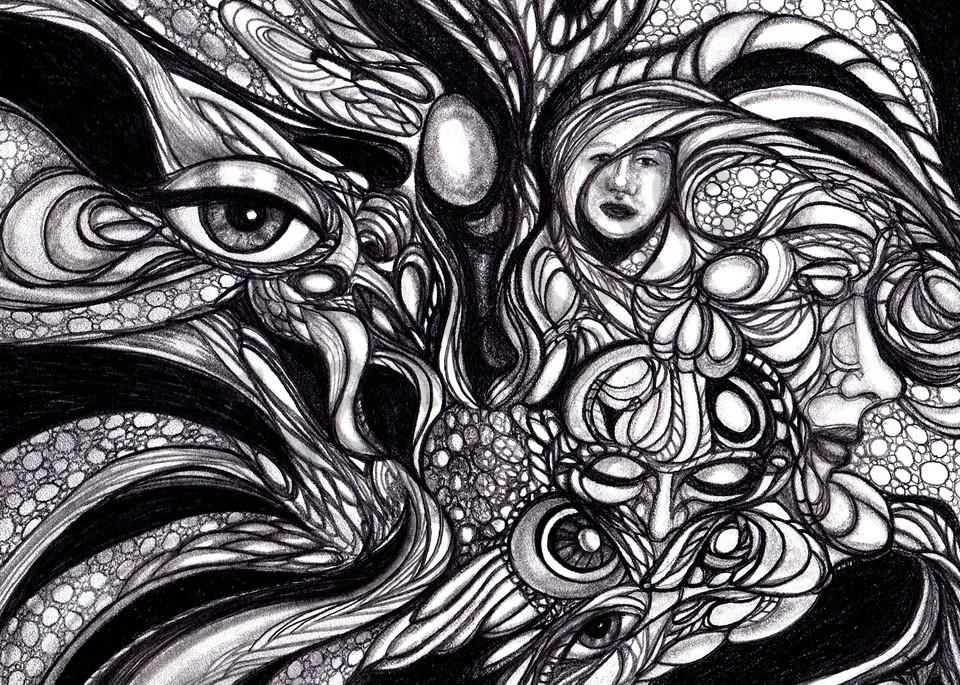 Mystical Merry-Go-Round Mixed Media Pen & Pencil Art