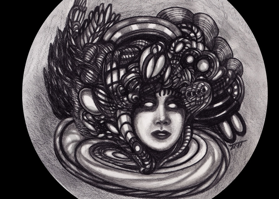Surreal Pencil Art - Woman as Snake with A Particular Venom