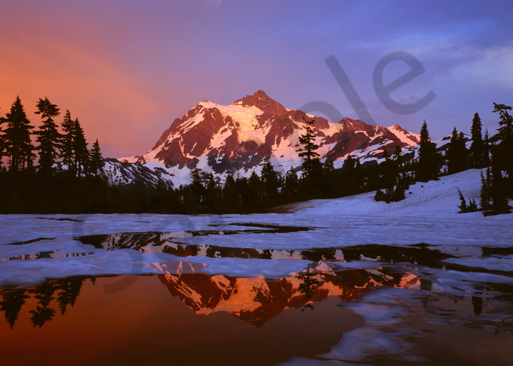 Mt. Shuksan and icy Picture Lake