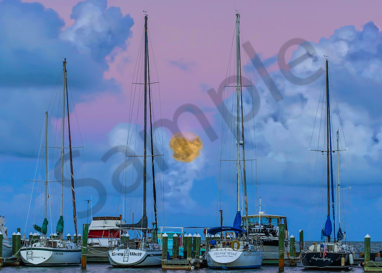 Fulton Harbor Super Moon Photography Art | John Martell Photography