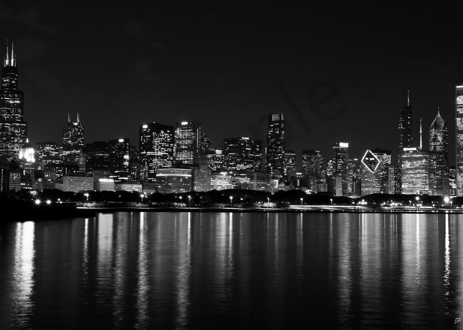 black and white Chicago Skyline print - fine art photography print -