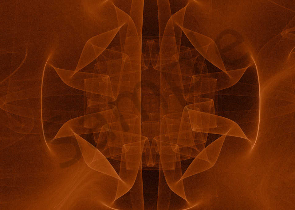 Sheer Origami Orange abstract gyroscope digital art by Cheri Freund