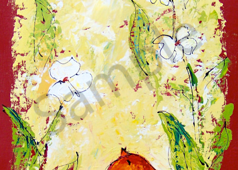 Tall Chubby Orange Bird with Flowers