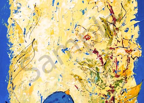 Tall Chubby Blue Bird with Flowers