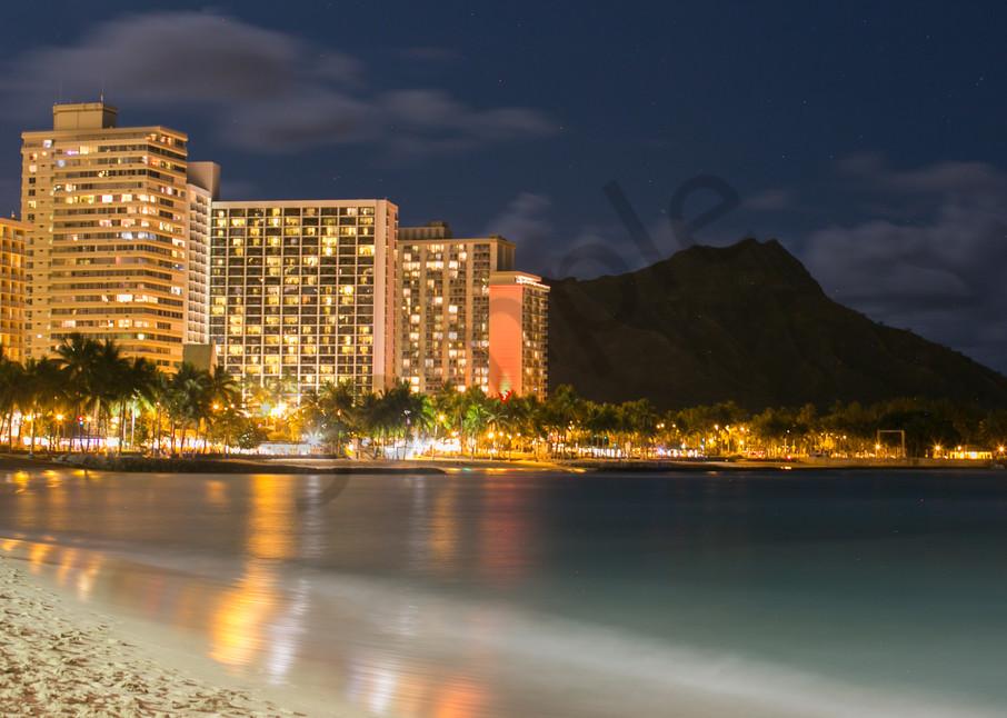 Stunning Waikiki Beach Night photo