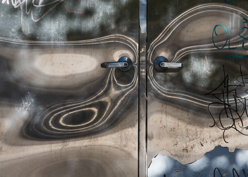 Abstract Reflections in Metal Door Photo for sale: Barb Gonzalez Photography