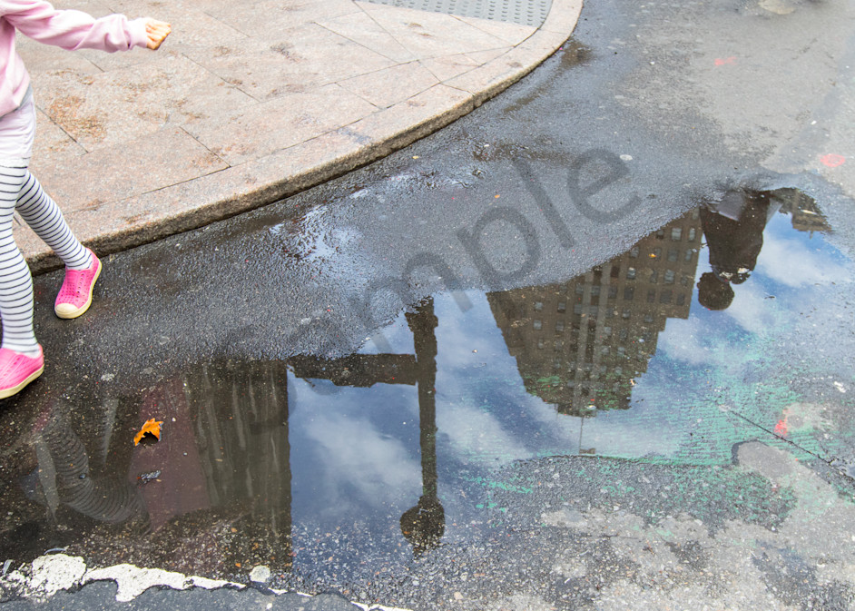 Skyscaper and girl reflections of New York City Photo for Sale: Barb Gonzalez Photography