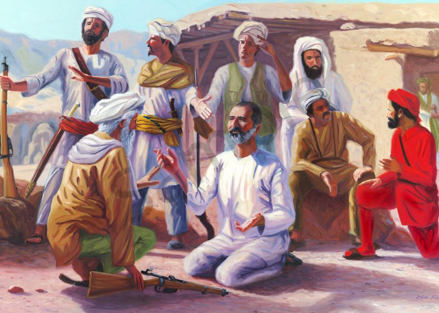 Oil painting portrait of Abdul Ghaffar Khan by Steve Simon