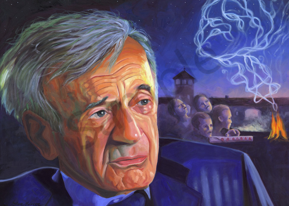 Elie Wiesel portrait painting by Steve Simon
