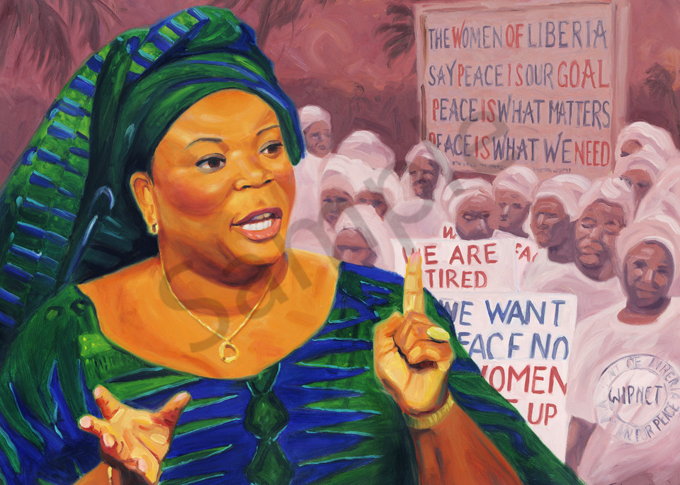 Leymah Gbowee Portrait Painting by Steve Simon