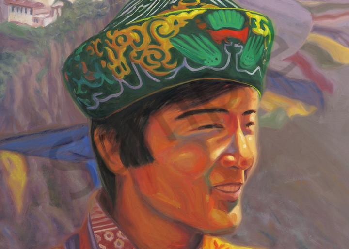 Oil painting portrait of Bhutan's Fourth Dragon King Jigme Singye Wangchuck by Steve Simon