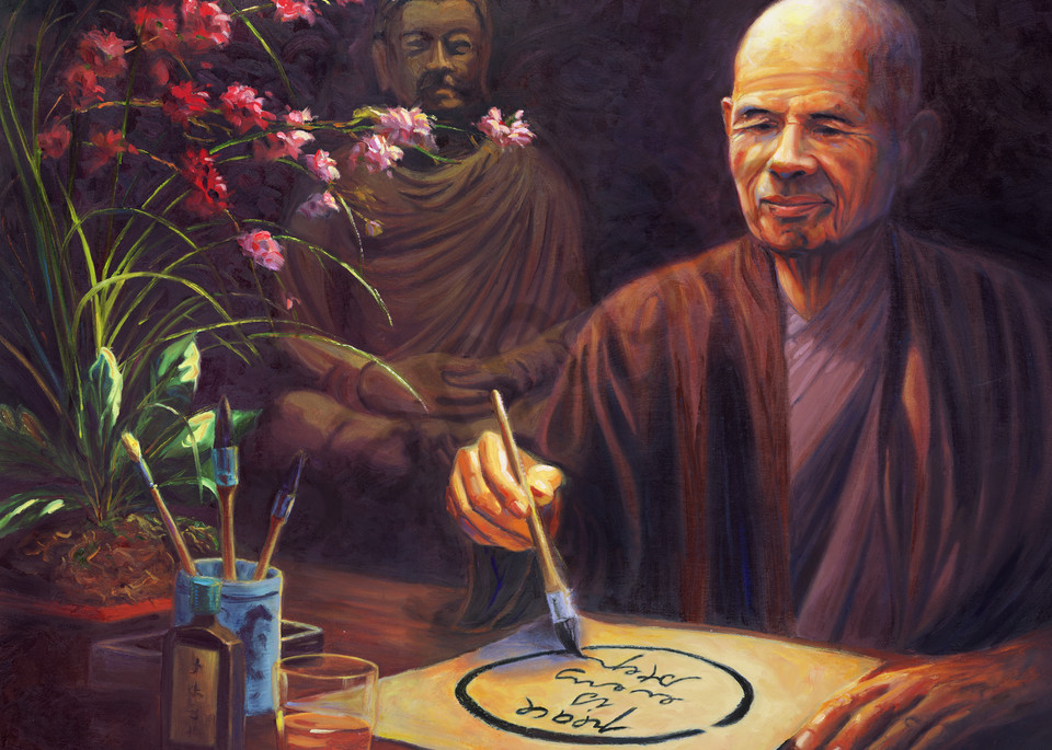 Thich Nhat Hanh Portrait Painting by Steve Simon