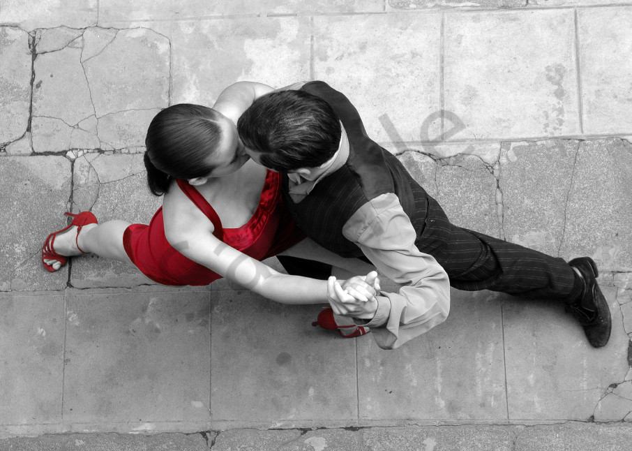 Couple dancing Argentinian Tango, viewed from above in a fine art photograph