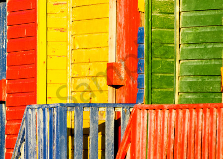 Abstract panorama of Muizenberg cabanas as fine art photograph