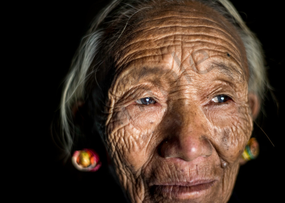 Portrait of old Konyak woman from Nagaland