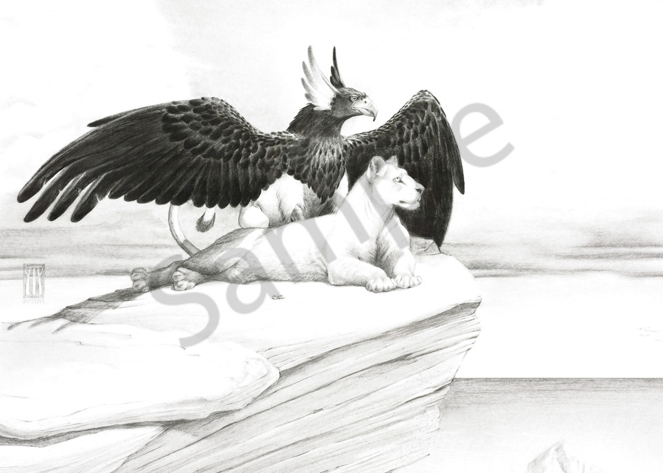 A griffin and lioness gaze out over the ocean together. This was an engagement gift the couple gave each other.
