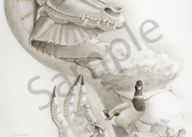 A funny fantastical black and white commission of an elder dragon and a duck. Art by Melissa A Benson