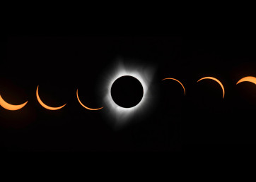 photograph art of 2017 solar eclipse in panorama sequence