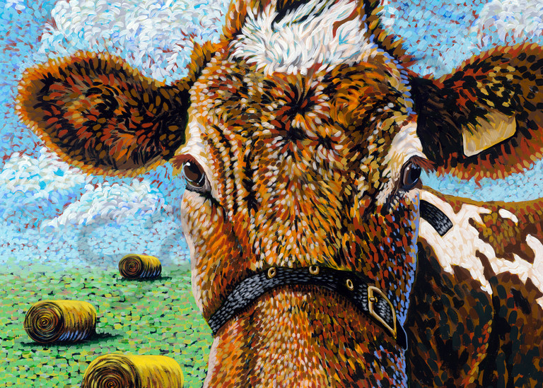 Colorful Cow paintings by John R Lowery, available as art prints.