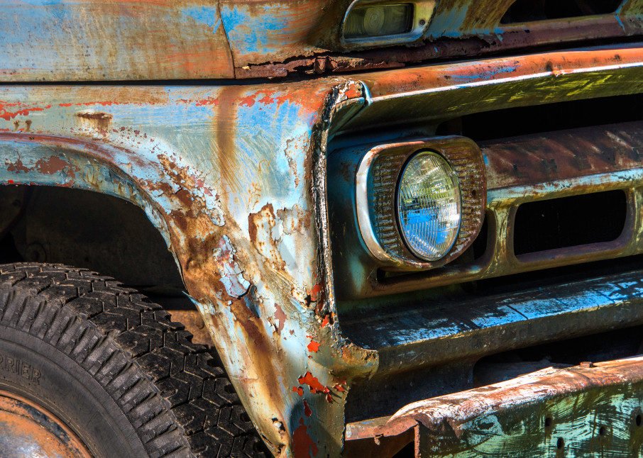 Close up of colorful rusty old truck in art photograph