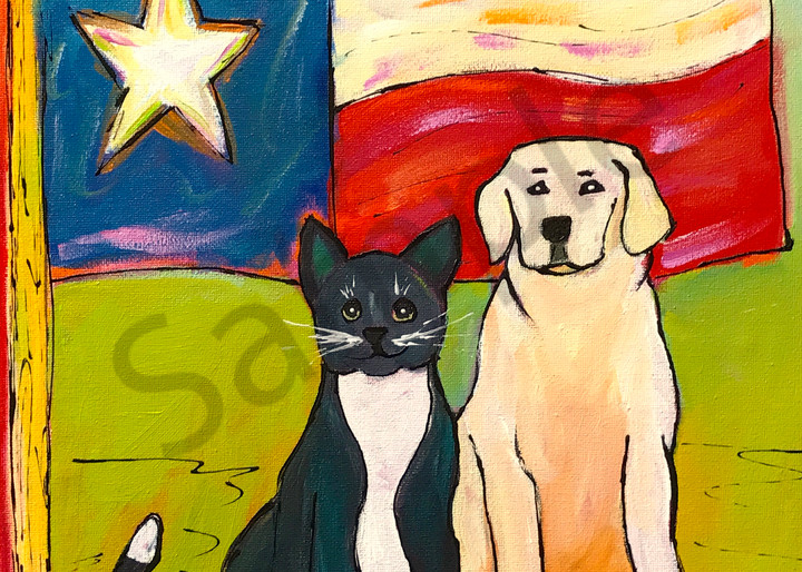Texas Pets - cat, dog and Texas flag - painted as fundraiser for ASPCA after Hurricane Harvey
