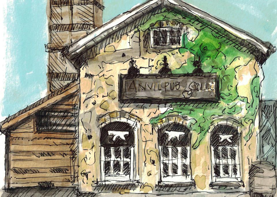 Anvil Pub Sketch Art   Geoffrey Butz Art & Design Inc
