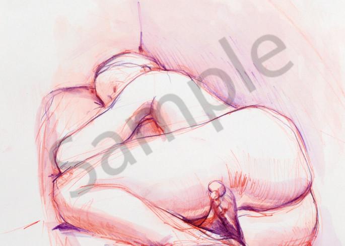 Purple-Orange Reclining Woman Watercolor