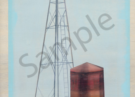 Painting of a Texas windmill landscape for sale as art prints.