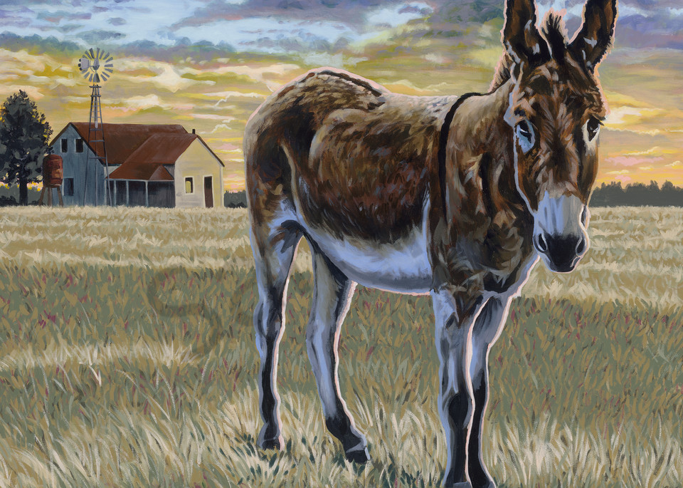 Original painting of a sunset with a donkey in the foreground, available as art prints.